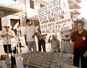 Residents hold a vigil, 10 April 2000 in Cochabamb